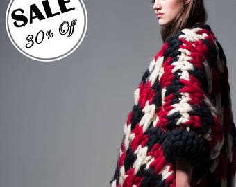 Secial SALE 30% off. Chunky knit cardigan. Big knit jacket. Bulky yran bomber. Super chunky knit. Woolen knit coat. Multicolor knit sweater.