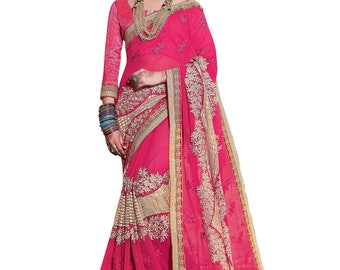 Indian designer party wear sari saree ethnic bollywood wedding Pink Colored Georgette And Rasal Net Saree.
