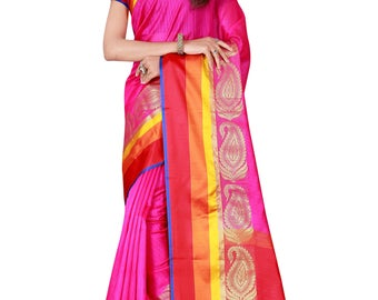 Indian Designer Pink Colored Banarasi Silk Saree Bollywood Party Wear Engagement weeding  Readymade trendy silk Saree Blouse women