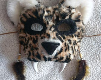 SOLD Spirit/Totem Animal Mask (Leopard) (AVAILABLE made to order)