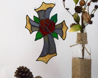 Glass Rose Cross Sun Catcher, Keepsake Cross Wall Decor, Godchild Gifts, Unique Wall Crosses, Holiday Decor Idea, Glass Art