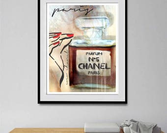 Chanel, Chanel Poster, Fashion Wall Art, Chanel Bottle Print, PRINTABLE, Wall Art, Gift For Her, Home Decor, Fashion Art Print, Chanel Print