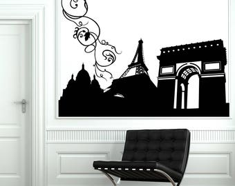 Wall Vinyl Decal  Abstract Image Symbols of Paris Travel Agency Decor (#2660dn)