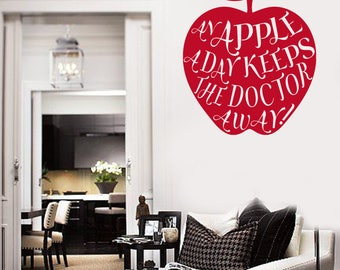 Wall Vinyl Decal An Apple a Day Keeps Doctor Away Decor for Living Room (#2606dn)