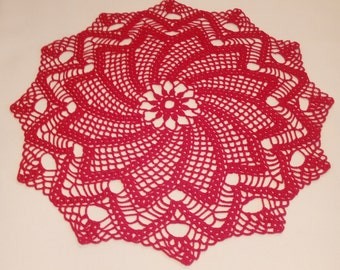 READY TO SHIP Red crochet doily -  Round doilies - red doily - Home decor -  crochet doilies - Mother's Day - Handmade - Handmade tablecloth