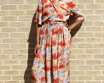 80's Vintage Button Down Shirt Dress Vintage Dress Chic 80's Dress Vintage Art Deco Dress Retro Dress Retro Women's Clothing Tall Women