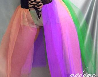 Long Corset Style lace up top tutu skirt black violet orange pink green