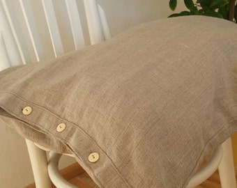 Two buttoned very soft natural grey linen pillowcases in handmade and made to order