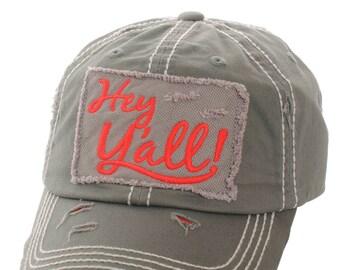 Hey Ya'll Distressed Cotton Baseball Cap Hat Moss, Embroidered On Torn Denim Decor