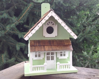 Gingerbread Cottage//Green and White// Birdhouse//Hand Painted