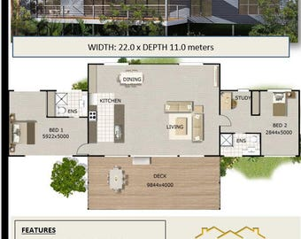 Australian 2 Bed + Study Home Plans For Sale / on stumps and timber floor