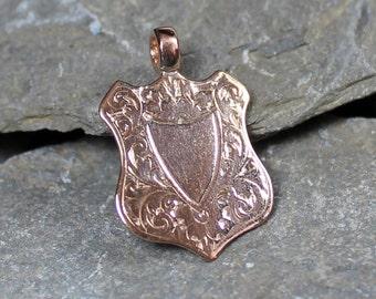 Antique Edwardian 9CT Rose Gold Patterned Shield Fob Pendant Charm