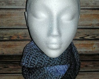 Womens crochet infinity scarf - lilac/grey/navy ombre