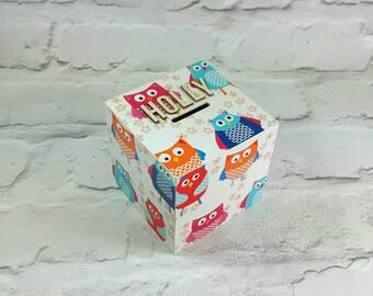 Owl Money Box, Owl Gifts, Piggy Bank, Money Box, Owl, Owl Box, Wooden Money Box, Owl Lovers, Gift for Girl, Pink Decor, Owl Theme