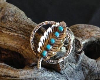 Vintage Silver & Turquoise Leaf Pin
