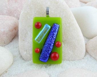 Dichroic glass pendant, geometric pendant, green purple and red pendant, fused glass pendant, purple dichroic pendant, dichroic jewellery