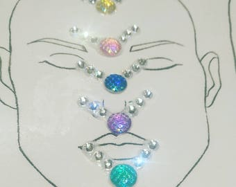 Mixed Set of 5 Mermaid Facepainting Blings Face Gems Face Bling Facepaint Body Gems Face Jewels Fancydress Mermaid Outfit Stick On FaceBling