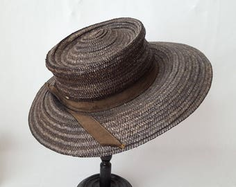 Vintage Black Straw Hat peasant country - 12644