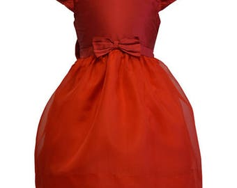 Red Silk and Organza Party Dress Size 5 Only