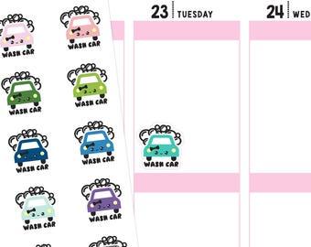 Kawaii Car Wash Planner Stickers