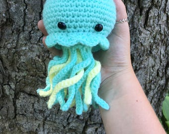 MADE TO ORDER handmade crochet amigurumi art toy stuffed animal toy jellyfish plushie