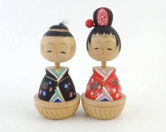 Vintage kokeshi doll, set of 2, Hina dolls
