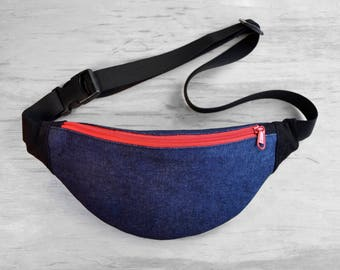 Navy & Black Waist bag with red zipper , money belt hip bag belt bag fanny pack, textile bum bag, festival bag, gift for him