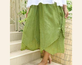 Women Summer Wide Leg Pants, Comfy Casual Double Layer Loose Cotton Baggy Pants with Elastic Waist in Green
