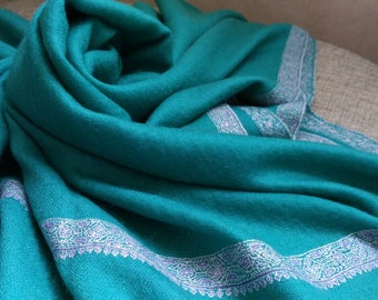 Pashmina Shawls Bal Dar Embroidery Lake Blue