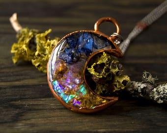 Crescent Moon Phase Electroformed Copper Resin Gypsy Hippie Boho Soul Witch Necklace
