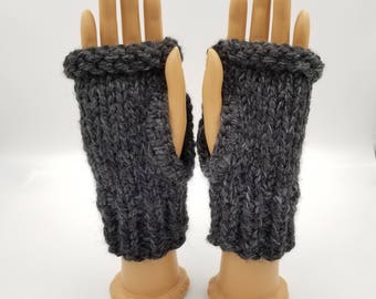 Chunky Fingerless Mitts, Chunky Fingerless Gloves, Hand Warmers, Wrist Warmers, Chunky Texting Mitts, Texting Gloves, Hand Knit Mitts