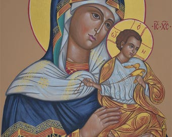 Custom Eastern Orthodox Icon Painting. Theotokos of Konev, Mother of God, Virgin Mary