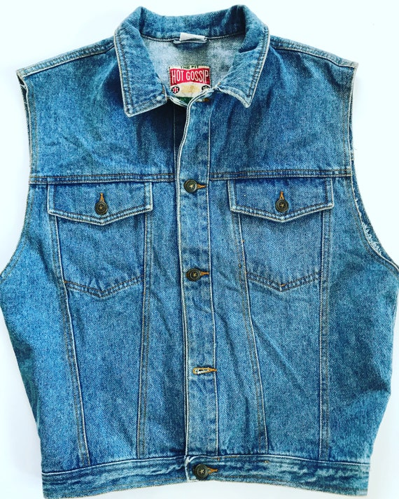 Vintage Denim Vest / Oversized / Jean / XL / Large / L / 90's / Button Up / Grunge / Dark blue / Oversize / Warm inside / Felted / Linen YpaeTi