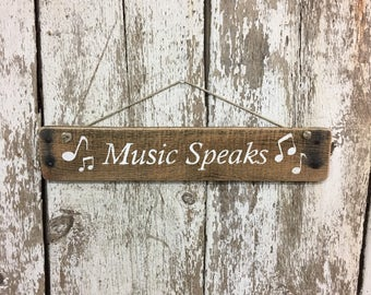 Music Signs Music Speaks Music Teacher Gift Musical Instrument Sign Gifts for Musician Musical Notes Piano Sign Gift for Piano Teacher #2090