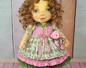 Decorative textile doll Rag doll Collector doll OOAK art doll Soft doll cotton Fabric Handmade doll Art