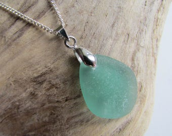 Drop Shape Pendant Necklace, Ocean Blue Green Sea Glass Pendant in a Gift Box, Made of Natural Sea Glass and Stainless Silver Colour Chain