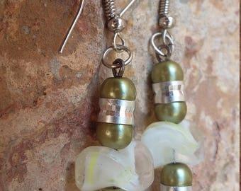 Green silver dangles yellow cream drops funky modern trendy light beaded handmade earrings gift girl holiday gift gift daughter gift sister