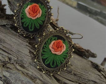 Embroidered earrings with roses,  floral earrings, romantic earrings, valentine's gift, gift for women, gift for her