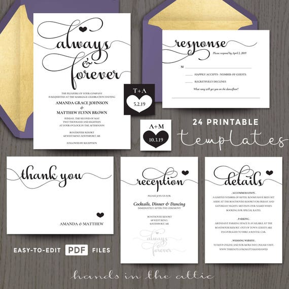 printable wedding invitation kits sets in black customizable and with rsvp card sets elegant always and forever digital templates diy - Printable Wedding Invitation Kits