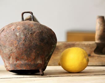 Antique Cow Bell - Large Cattle Bell - Blacksmith Hand Forged Vintage Bell - Vintage Cowbell - Farmhouse Decor - Rustic Decor