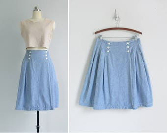 vintage chambray skirt / knee length denim skirt / kick pleat cotton skirt / womens M - L
