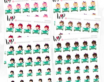 Driving Car Girl | Matte Glossy Planner Stickers