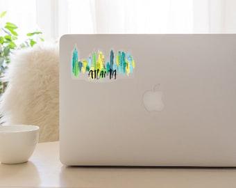 Atlanta Skyline Watercolor Sticker- Clear Background
