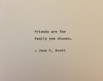 Jess C Scott friendship quote hand typed on antique typewriter gift girlfriend boyfriend husband wife wedding present birthday christmas