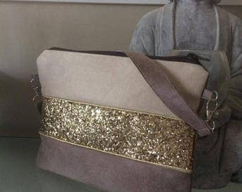 cover - taupe, beige and gold suede handbag