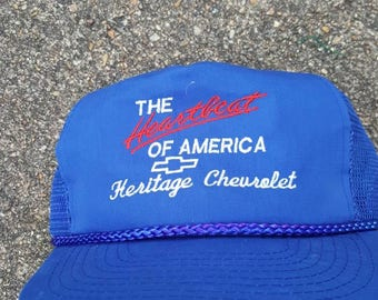 Vtg Chevy Heartbeat of America racing trucker snapback Chevrolet hat cap