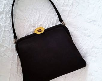 Vintage Handbag, Black Suede Mid 1950s, Brass Trim, Red Satin Lining