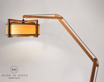 modern floor lamp made from solid oak and ash veneer modern arch style also