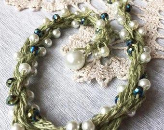 Summer Sale 50% OFF - Crochet Linen Beaded Necklace Crochet Natural Jewelry Eco Jewelry Crochet Neck Accessory  Organic
