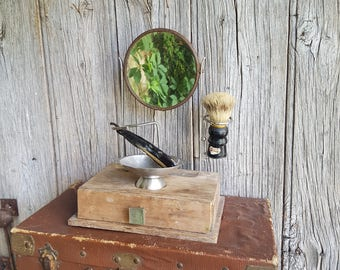 French Vintage Complete Shaving Kit and Stand with 'Famex Crown' Cut Throat Razor, Shaving Mirror, Shaving Stand, Shaving Brush, Bowl